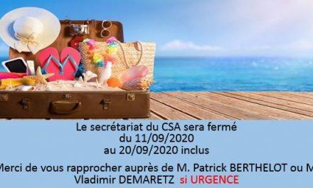 FERMETURE SECRÉTARIAT DU 11/09/2020 au 20/09/2020