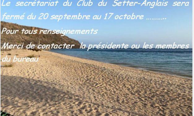 Fermeture secrétariat du 20 septembre au 17 octobre….